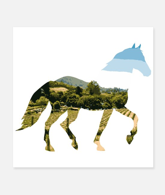 Horse Racing Posters - Double Exposure Animals Horse Funny Gift Idea - Posters white