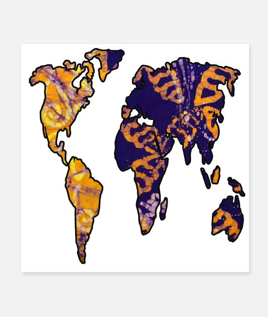Wanderlust Posters - Purple and Gold World Map - Posters white