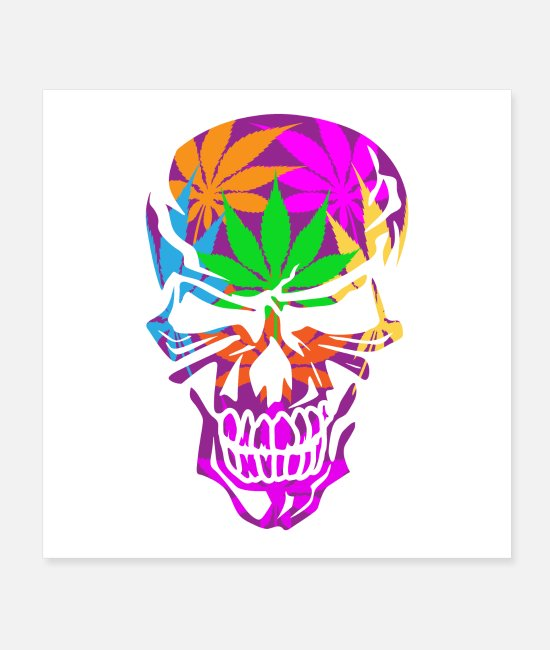 Trippy Posters - Psychedelic Skull - Posters white