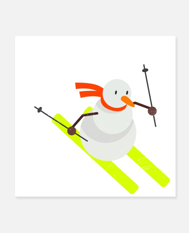 Mountains Posters - Snowman Skiing Funny Gift Idea - Posters white