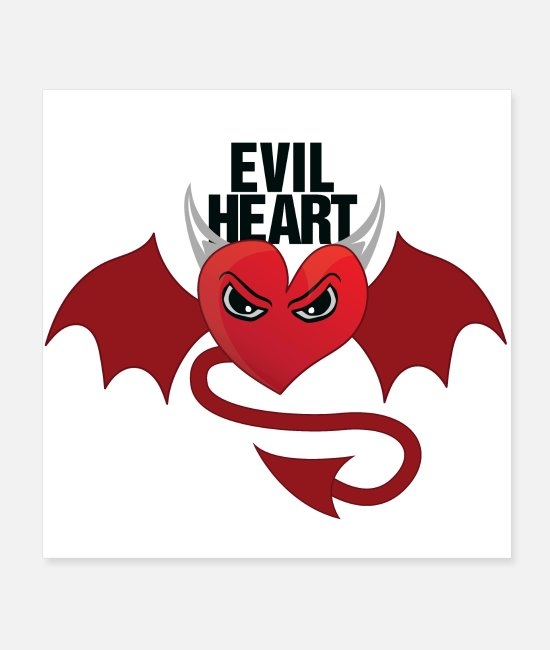 Heart Posters - EVIL HEART T SHIRT black and red - Posters white