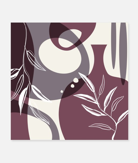 Line Posters - Abstract - Leaves and Vases in Mulberry and - Posters white