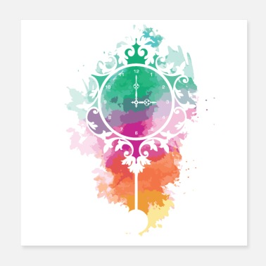 Clock Mystical clock with colorful paint - Poster