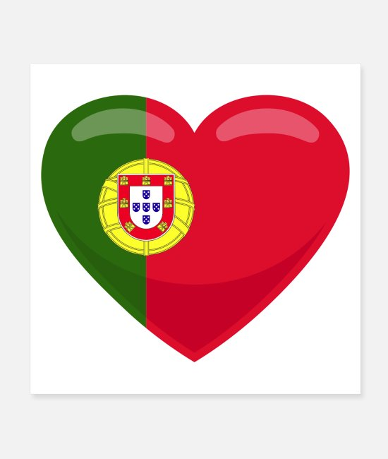 Soccer Posters - Portugal heart flag - Posters white
