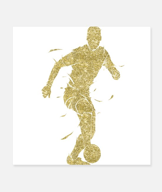 Golden Cut Posters - golden football player soccer players - Posters white