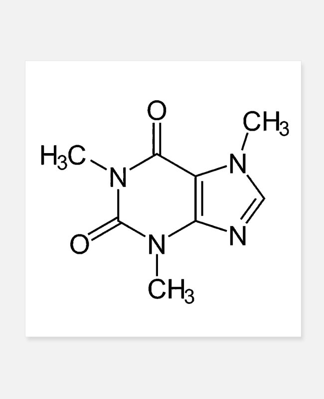 Chemical Formula Posters - Caffeine Molecule - Posters white