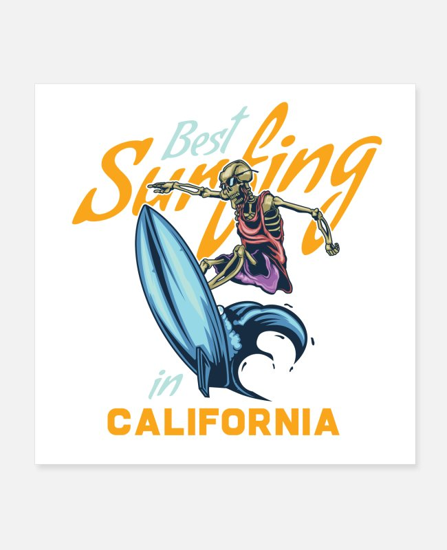 Surf Posters - Skeleton on surfing board - Posters white