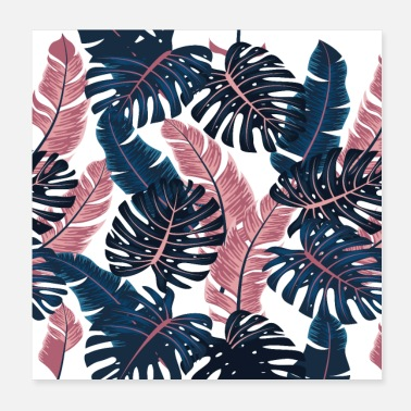 Leaves Tropical Plants Leaves Blue Pink Cool Face Mask - Poster