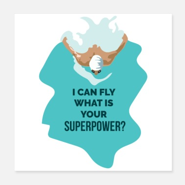 Swimming Instructor Swimming I can fly what is your superpower Funny - Poster