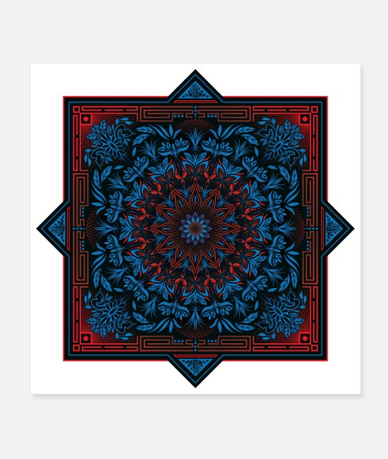 Trip Posters - Red Blue Psychedelic Mandala Geometric Design - Posters white