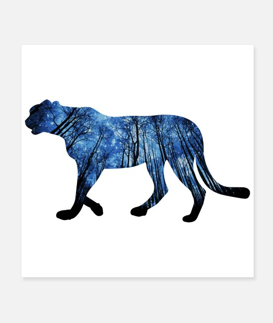 Panther Posters - Double-Exposure Animals Jaguar Gift Idea - Posters white