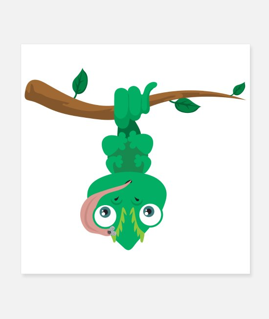 Reptiles Posters - Cute Animals Funny Chameleon Upside Down Gift Idea - Posters white