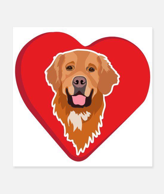 Retriever Posters - Favorite Dogs Golden Retriever Love Gift Idea - Posters white