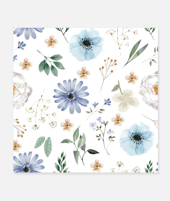 Pattern Posters - Midnight Bloom Flower Pattern - Posters white