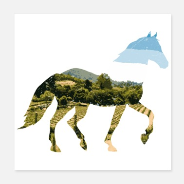 Foal Double Exposure Animals Horse Funny Gift Idea - Poster