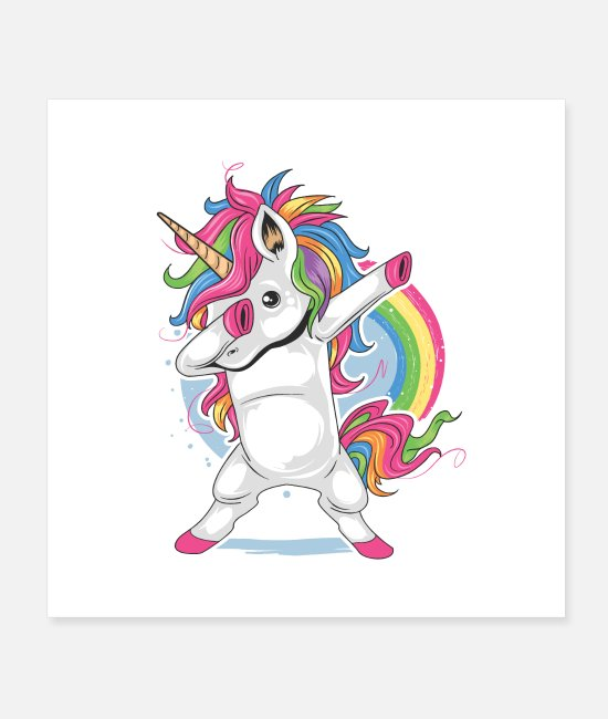 Cute Posters - unicorn cute dabbing - Posters white