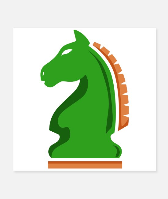 Chess Posters - Chess Knight Horse Green Chess Player Gift Idea - Posters white