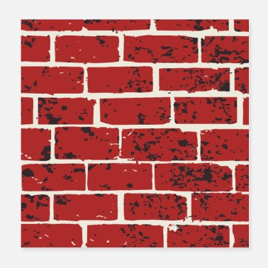 Brick Brick, wall, red brick, stone wall - Poster