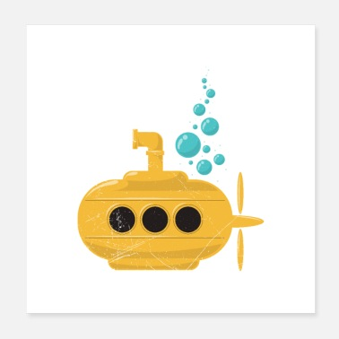 Fan Yellow Submarine with bubbles Diver Gift Idea - Poster