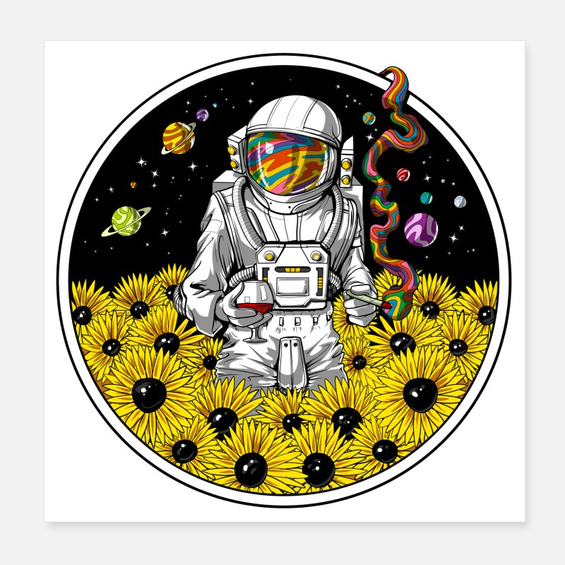 Z469 Astronaut Space Psychedelic Trippy Colorful Abstract Art Silk Poster Custom