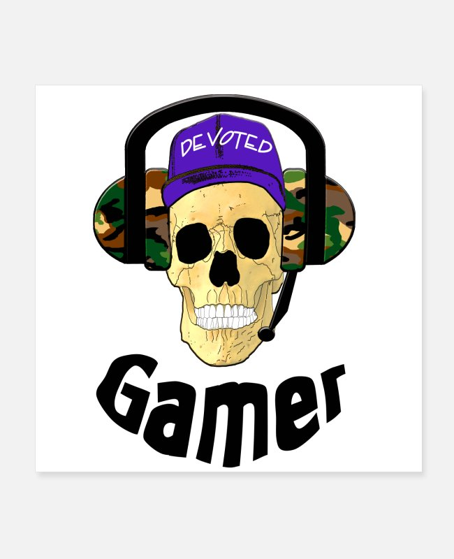 Headphones Posters - A devoted gamer. - Posters white