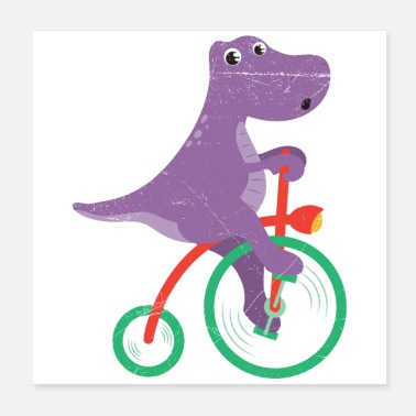 Cycling Dinosaur Dino Riding Bicycle Dino Lover - Poster