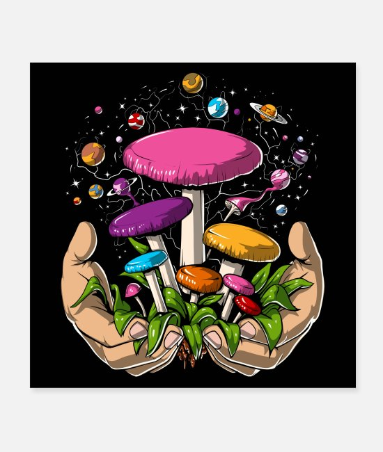 Trippy Posters - Space Magic Mushrooms Trip - Posters white