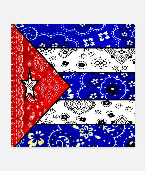 Veterans Posters - Retro Cuban Flag - Posters white
