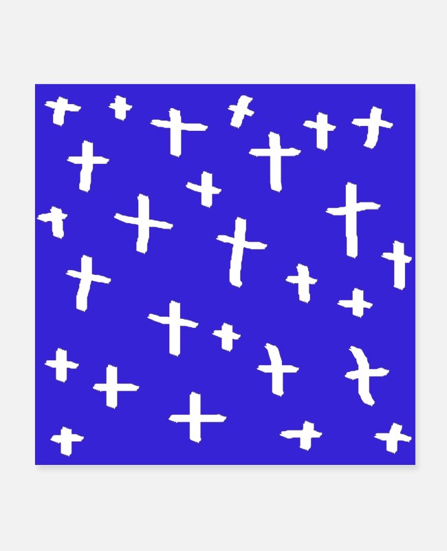 Cross Golf Posters - blue white cross - Posters white