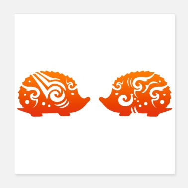 Romantic Tribal Tattoo Hedgehog Couple Funny Gift Idea - Poster