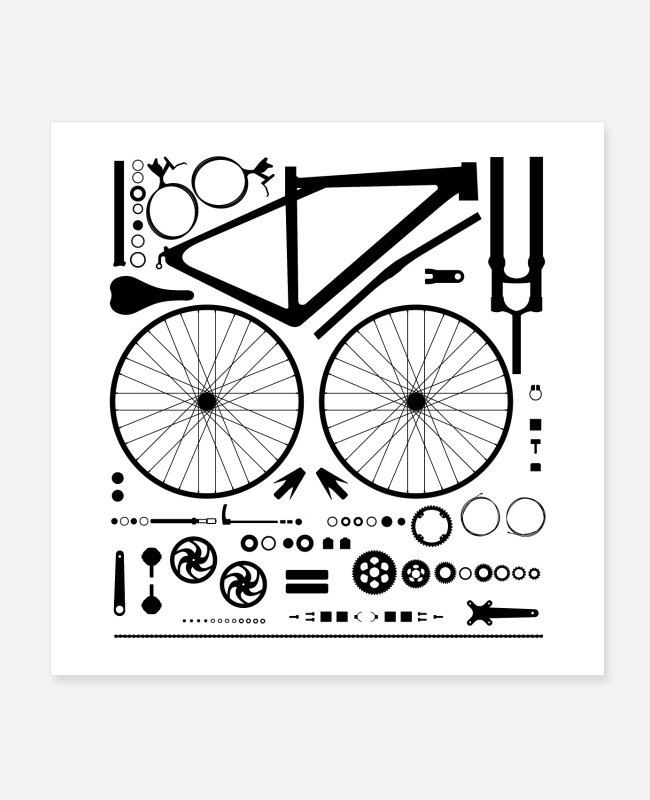 Components Posters - Bike Parts - Posters white