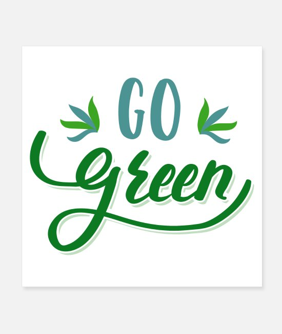 Sticker Posters - go green leaf badge - Posters white