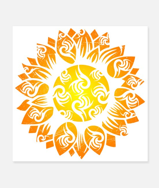 Garden Posters - Symbol Sunflower Tribal Tattoo Gift Idea - Posters white
