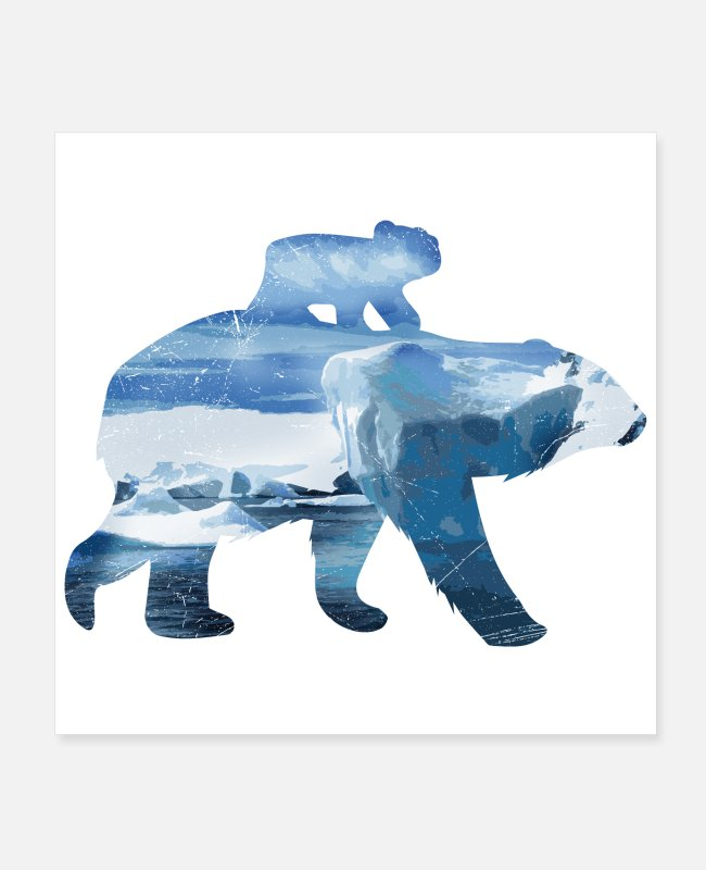 Ice Bear Posters - Double Exposure Animals Polar Bear Mom and Baby - Posters white