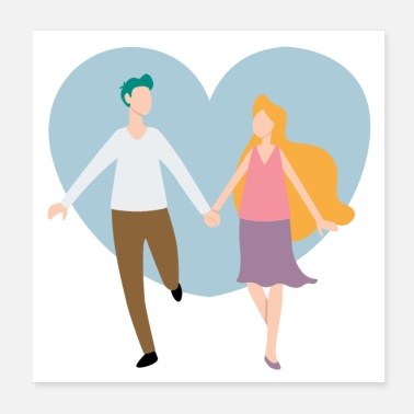 Young Persons Beautiful romantic young couple in love Walking wi - Poster
