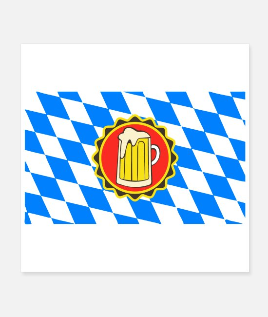 Beerfest Posters - Oktoberfest Beer Krug Badge with Bavaria Flag Gift - Posters white
