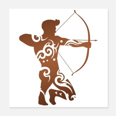 Crossbow Archery Archer Man Brown Tribal Tattoo Gift Idea - Poster