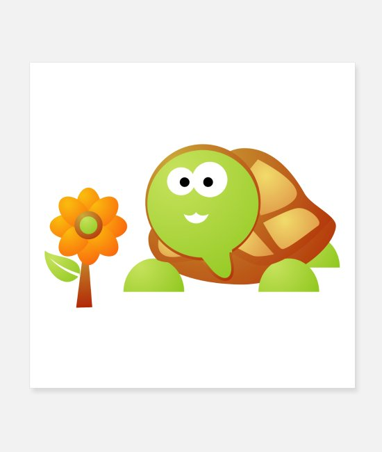 Turtle Posters - Cute Turtle and Flower Illustration - Posters white