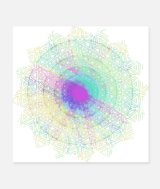 Zen Posters - Flower of Life, Hippie Mandala Two - Posters white