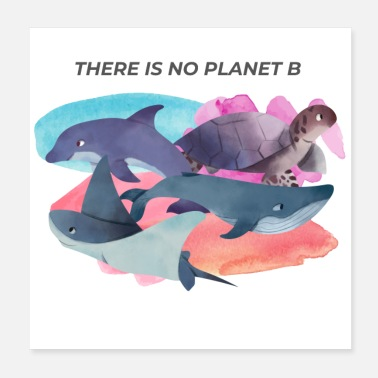 Co2 There is no planet B dolphin turtle mantas whales - Poster