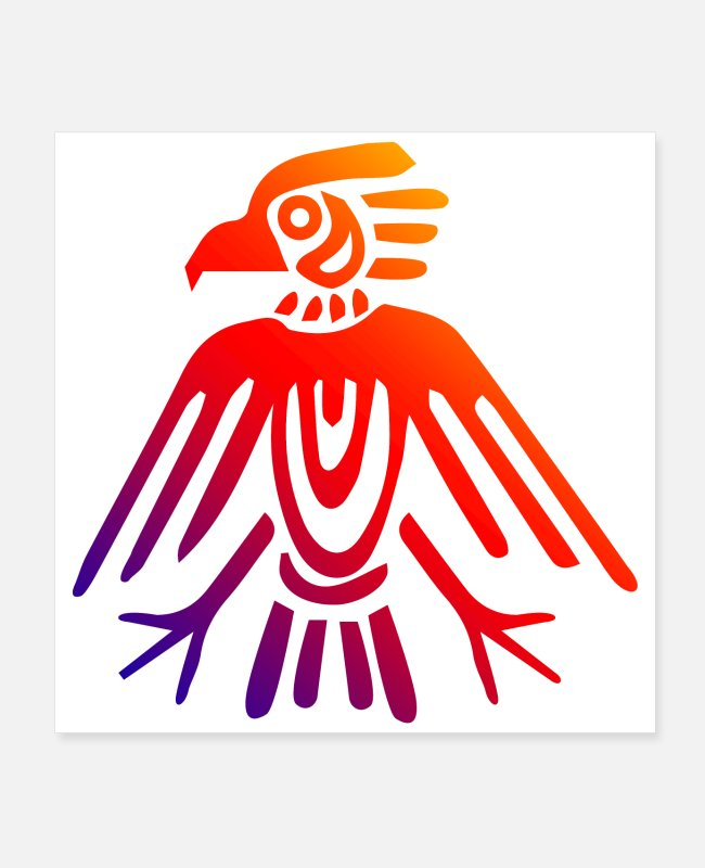 New Posters - Aztec Symbols Aztec Eagle Tattoo Gift Idea - Posters white