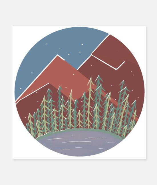 Mountains Posters - Snowy Mountains / Nature Camping Trip - Posters white