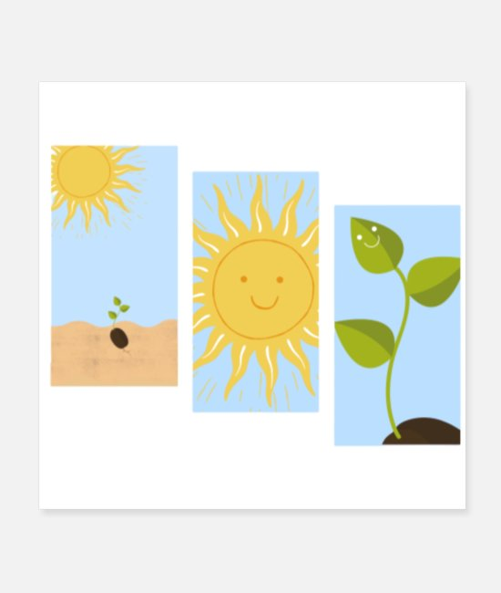 Aesthetic Posters - Smiling Sun and Plant print - Posters white