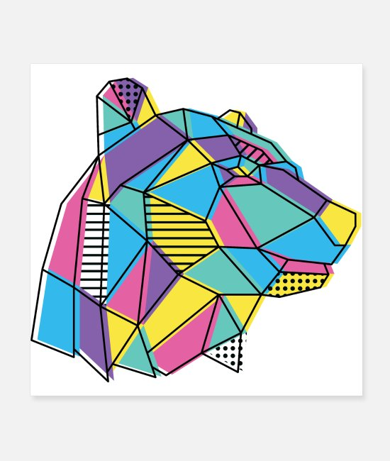 Graphic Art Posters - Geometric Bear - Posters white