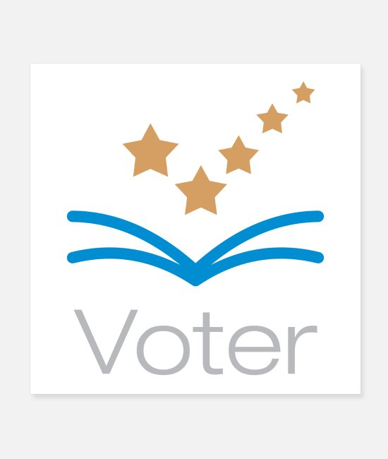Presidential Election Posters - Voter Logo With Check Mark Stars - Posters white
