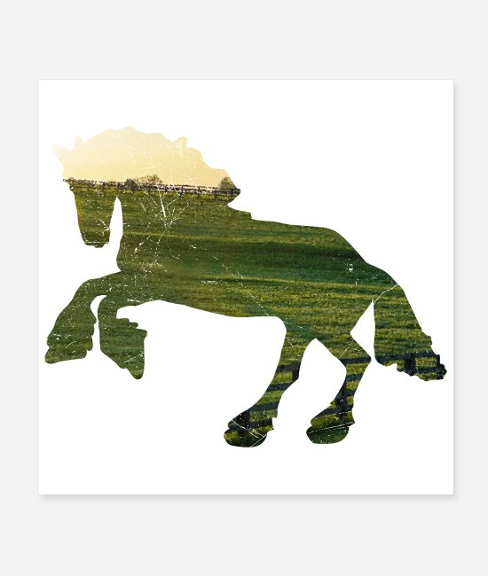 Riding Posters - Double Exposure Animals Shire Horse Rider Gift Die - Posters white