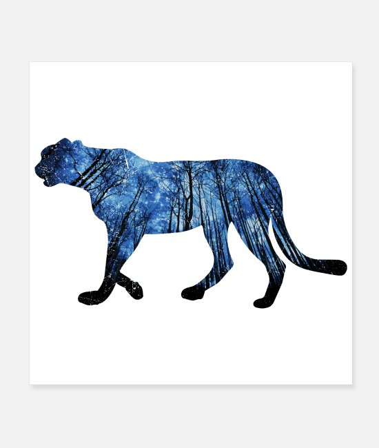 Darkness Posters - Double-Exposure Animals Jaguar Gift Idea - Posters white
