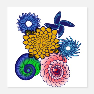 Red Yellow Blue Bright Cute Attractive Spiral Pattern - Poster