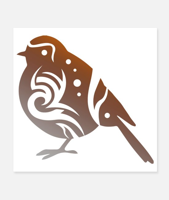 Passerine Bird Posters - European Robin Bird Lover Tribal Tattoo Gift Idea - Posters white