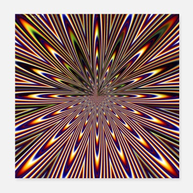 Retro Colourful gradient abstract ray burst pattern - Poster